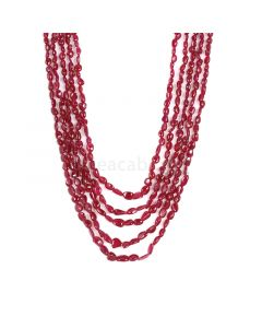 5 Lines - Medium Red Ruby Tumbled Beads - 192.39 cts - 2.3 x 2.5 mm to 4.6 x 7.1 mm (RTUB1007)