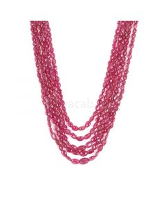 5 Lines - Medium Red Ruby Tumbled Beads - 279.55 cts - 3.4 x 4 mm to 6.9 x 9.1 mm (RTUB1008)