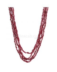 4 Lines - Dark Red Ruby Tumbled Beads - 138.50 cts - 3 x 3 mm to 4.8 x 7.5 mm (RTUB1006)