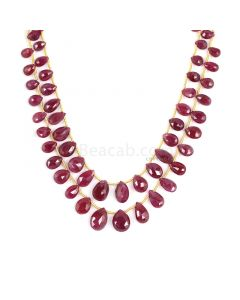 2 Lines - Medium Red Ruby Faceted Drops - 97.50 cts - 3.9 x 5.4 mm to 8 x 11.7 mm (RDR1052)