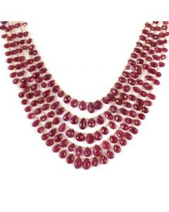 5 Lines - Medium Red Ruby Faceted Drops - 210.50 cts - 3.6 x 5.4 mm to 7.3 x 10.5 mm (RDR1047)