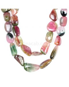 2 Lines - Watermelon (Bi-Color) Multi-Tourmaline Tumbled Beads - 854.50 cts - 15.4 x 20 mm to 12 x 23.4 mm (MTOUR1022)