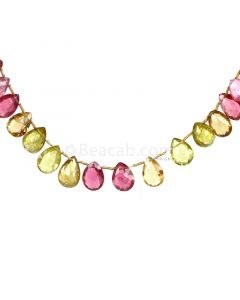 1 Line - Medium Tones Multi-Tourmaline Faceted Drops - 97.00 cts - 12.2 x 8.9 mm to 13.5 x 9 mm (MTFD1202)