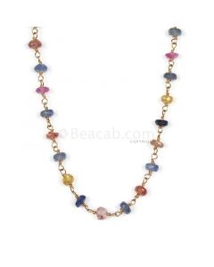 1 Line - Medium Tones Multi Sapphire Faceted Beads & Gold Necklace - 29.81 cts - 3.3 to 3.6 mm (GWWCS1176)