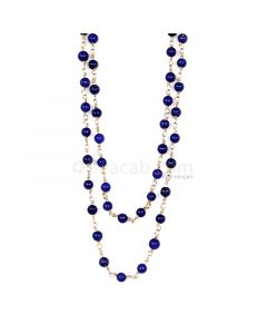 1 Line - Blue Lapis Smooth Beads & Gold Necklace - 44.31 cts - 3.2 to 3.3 mm (GWWCS1148)