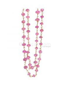 1 Line - Medium Pink Pink Sapphire Faceted Beads & Gold Necklace - 90.81 cts - 3.3 to 5.5 mm (GWWCS1133)