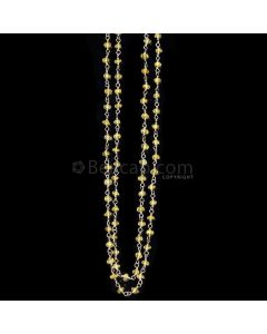 1 Line - Medium Yellow Yellow Sapphire Faceted Beads & Gold Necklace - 43.11 cts - 2.5 to 2.9 mm (GWWCS1129)