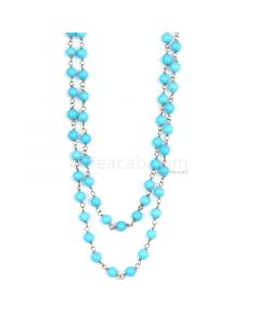 1 Line - Blue Turquoise Round Beads & Gold Necklace - 69.30 cts - 4.0 to 4.1 mm (GWWCS1125)