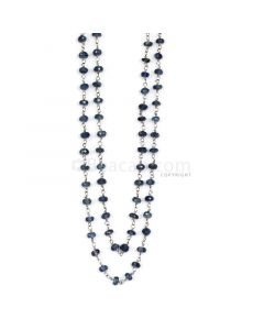 1 Line - Medium Blue Sapphire Faceted Beads & Gold Necklace - 66.00 cts - 3.3 to 3.6 mm (GWWCS1127)