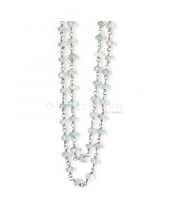 1 Line - Light Blue Aqua Faceted Beads & Gold Necklace - 59.81 cts - 3.8 to 4 mm (GWWCS1126)