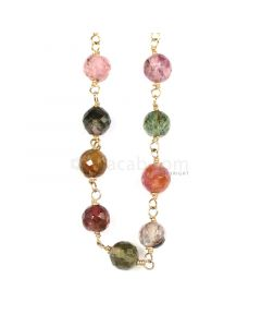 1 Line - Medium Tones Multi Tourmaline Faceted Beads & Gold Necklace - 50.02 cts - 4.2 to 4.9 mm (GWWCS1222)