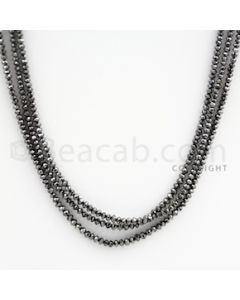 1.60 to 2.50 mm - Black Diamond Faceted Beads - 43.50 carats - 15 inches (BDia1017)