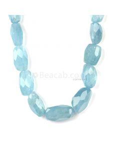 1 Line - Medium Blue Aqua Faceted Tumbled Beads - 596.50 cts - 17.1 x 11 mm to 31.7 x 17 mm (AQFTUB1001)