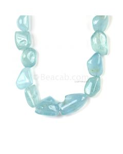 1 Line - Medium Blue Aqua Tumbled Beads - 1003.00 cts - 26 x 20 mm to 42 x 25 mm (AQTUB1004)