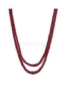 2 Lines - Dark Red Ruby Smooth Beads - 130.01 cts - 2.2 to 5.3 mm (RSB1069)