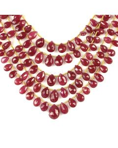 5 Lines - Medium Red Ruby Faceted Drops - 192.50 cts - 5.5 x 3.8 mm to 11.5 x 8.9 mm (RDR1066)