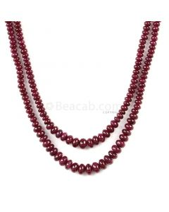 2 Lines - Dark Red Ruby Smooth Beads - 110.00 cts - 2.7 to 5.5 mm (RSB1070)