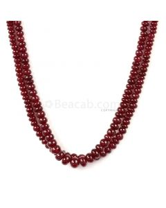 2 Lines - Medium Red Ruby Smooth Beads - 147.50 cts - 3 to 5.6 mm (RSB1067)