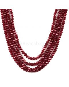 4 Lines - Medium Red Ruby Smooth Beads - 319.00 cts - 3.6 to 4.5 mm (RSB1068)