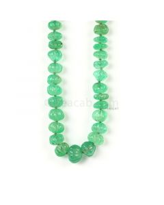 1 Line - Medium Green Emerald Carved Beads - 122.50 cts - 4.5 to 9.2 mm (EMCARB1015)