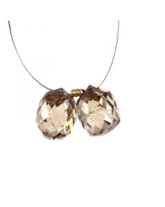 2 Pcs - Champagne (Brown) Diamond Faceted Drops - 5.16 cts - 7.8 x 6.4 mm & 7.5 x 5.7 mm (DIADRP1034)