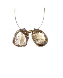2 Pcs - Champagne (Brown) Diamond Faceted Drops - 3.65 cts - 7.5 x 5.4 mm & 8 x 5.3 mm (DIADRP1040)