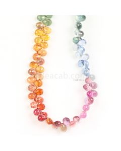1 Line - Medium Tones Multi Sapphire Faceted Drops - 100.50 cts - 5.3 x 3.3 mm to 5.5 x 3.5 mm (MSFD1047)