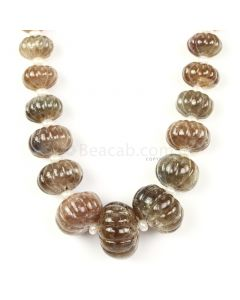 1 Line - Medium Tones Multi Sapphire Carved Beads - 842.00 cts - 10 to 25.3 mm (MSCRB1002)