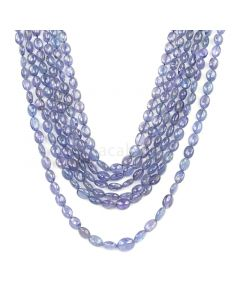 6 Lines - Violet Tanzanite Tumbled Beads - 403.00 cts - 3.8 x 3.6 mm to 9.3 x 7.5 mm (TZTUB1039)