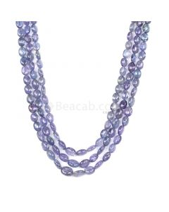3 Lines - Violet Tanzanite Tumbled Beads - 369.03 cts - 7.1 x 5.6 mm to 10.3 x 8.5 mm (TZTUB1047)