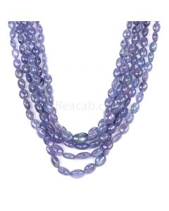 5 Lines - Violet Tanzanite Tumbled Beads - 671.58 cts - 6.6 x 5.7 mm to 11.3 x 8.6 mm (TZTUB1059)