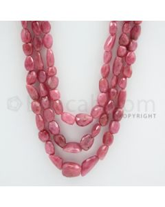 Pink Sapphire Faceted Tumbled Beads - 18 to 21 inches (PnSFTuB1003)