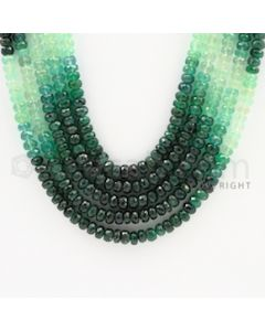 4.20 to 5.20 mm - 5 Lines - Emerald Faceted Beads - 17 to 19 inches (EFBSh1001)