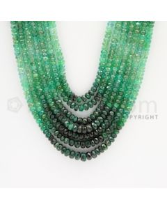 3.00 to 4.00 mm - 7 Lines - Emerald Faceted Beads - 17 to 20 inches (EFBSh1005)