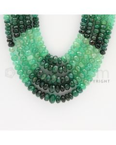 4.40 to 7.50 mm - 5 Lines - Emerald Faceted Beads - 17 to 20 inches (EFBSh1006)