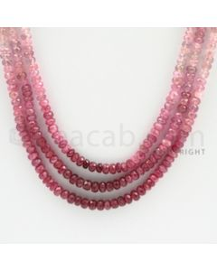 3.50 to 4.50 mm - 3 Lines - Ruby Faceted Beads - 19 to 21 inches (RFBSh1004)