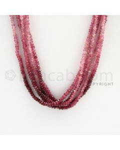 3.80 to 3.10 mm - 5 Lines - Ruby Faceted Beads - 19 inches (RFBSh1006)
