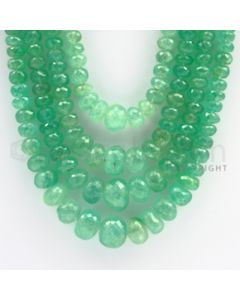 7.00 to 15.00 mm - 4 Lines - Emerald Faceted Beads - 16 to 21 inches (EmFB1021)
