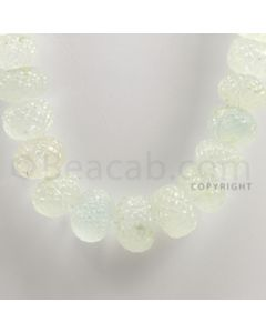 10.50 to 20.00 mm - 1 Line - Aquamarine Carved Beads - 19 inches (AqCarB1005)