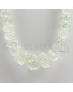 9.50 to 20.00 mm - 1 Line - Aquamarine Carved Beads - 20 inches (AqCarB1006)