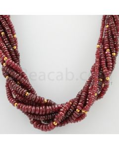 3.50 to 7.00 mm - 9 Lines - Ruby Faceted Beads - 17 inches (CSNKL1037)
