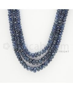 3.00 to 6.50 mm - 3 Lines - Sapphire Faceted Beads - 19 to 21 inches (SFB1001)