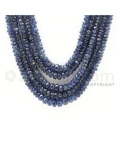 2.50 to 5.00 mm - 5 Lines - Sapphire Faceted Beads - 16 to 18 inches (SFB1002)