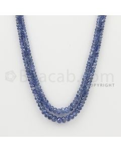 2.50 to 5.50 mm - 2 Lines - Sapphire Faceted Beads - 18 to 19 inches (SFB1062)