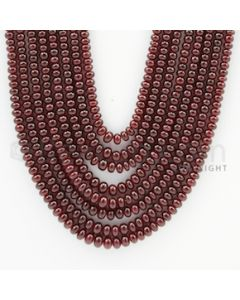 2.50 to 4.70 mm - 8 Lines - Ruby Smooth Beads - 19 to 23 inches (RSB1005)