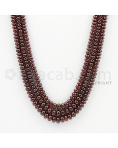 3.00 to 5.0 mm - 3 Lines - Ruby Smooth Beads - 21 to 22 inches (RSB1006)