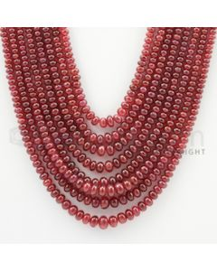2.50 to 5.70 mm - 8 Lines - Ruby Smooth Beads - 15 to 18 inches (RSB1008)