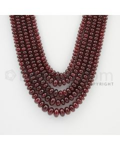 2.70 to 7.50 mm - 5 Lines - Ruby Smooth Beads - 19 to 22 inches (RSB1009)