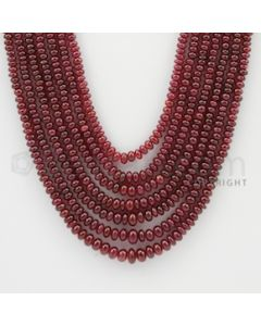 2.50 to 5.50 mm - 7 Lines - Ruby Smooth Beads - 18 to 22 inches (RSB1010)