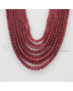 2.70 to 6.20 mm - 8 Lines - Ruby Smooth Beads - 18 to 22 inches (RSB1011)